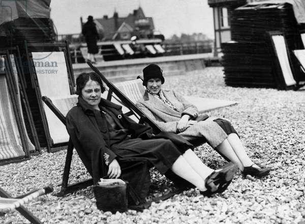 Portrait of Elizabeth Andrews and Mrs Fenn on Beach at Porthcawl (b/w photo)
