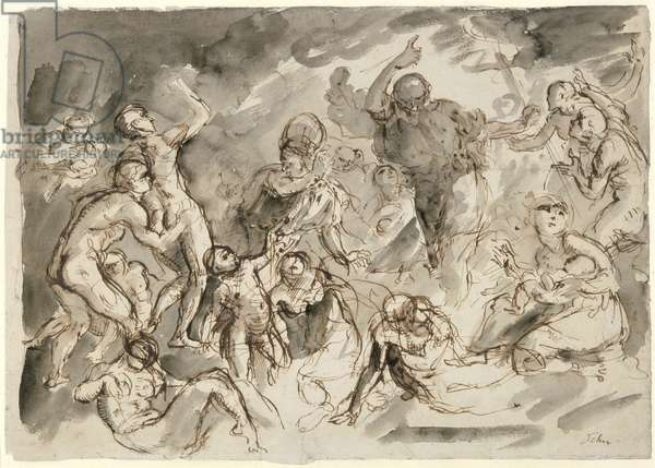 Study for 'Moses and the Brazen Serpent', 1898 (pen, ink & wash on paper)