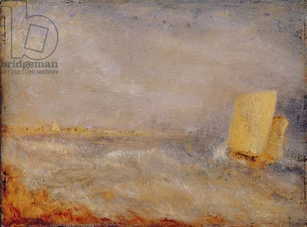A Sailing Boat off Deal, c.1835 (oil on millboard)