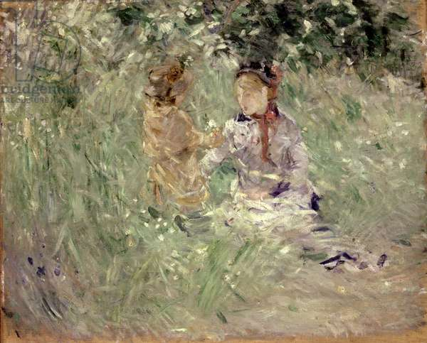 Woman and Child in a Meadow at Bougival, 1882 (oil on canvas)