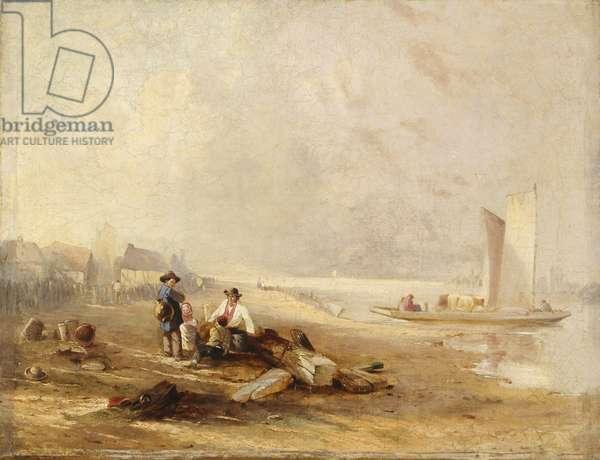 A river shore (oil on canvas)
