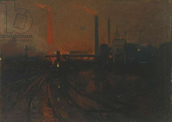 Steel works, Cardiff, at night, 1893-97 (oil on canvas board)