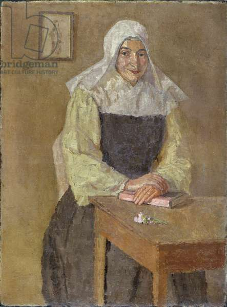 Mere Poussepin Seated at a Table (oil on canvas)