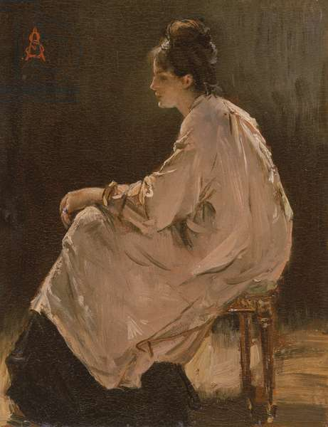 Seated Girl (oil on board)