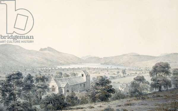 View of Bala Pool, Llyntagit, from above Llanfawr Church, Meirionethshire, 1805 (w/c on paper)