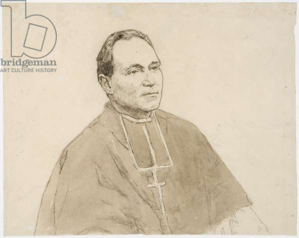 Portrait of a Cardinal (charcoal & w/c on paper)