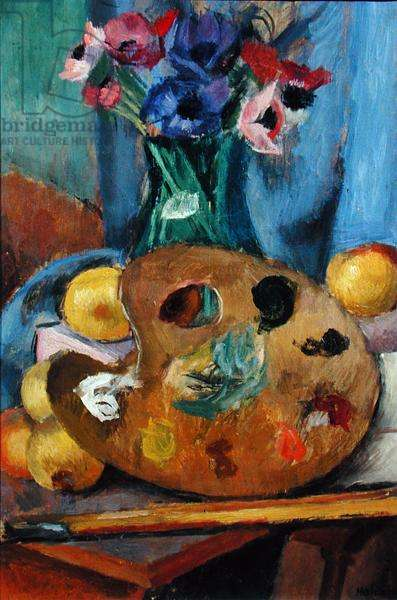 Still Life Flowers and Pallette, c.1921 (oil on canvas)