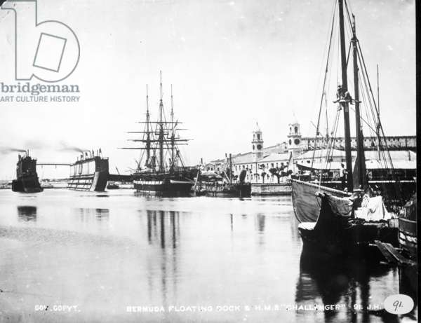 View of H.M.S. Challenger at floating dock in Bermuda