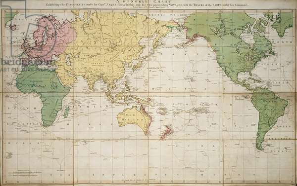 World map 1784 showing the Cook Voyages