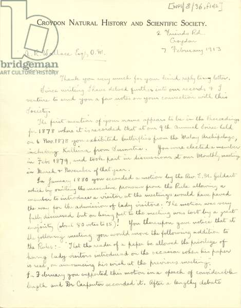 Letter from Frank Roberts to Alfred Russel Wallace