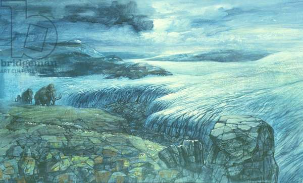 Glacial Landscape in Northern Britain, Upper Pleistocene Period (oil on board)
