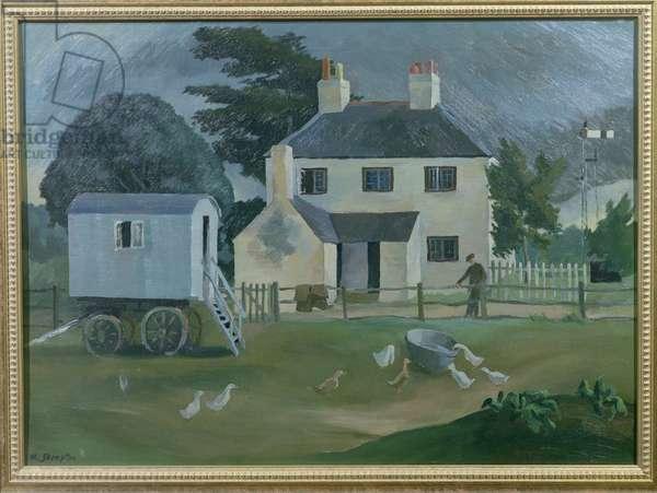 Farm with Signal (oil on canvas)