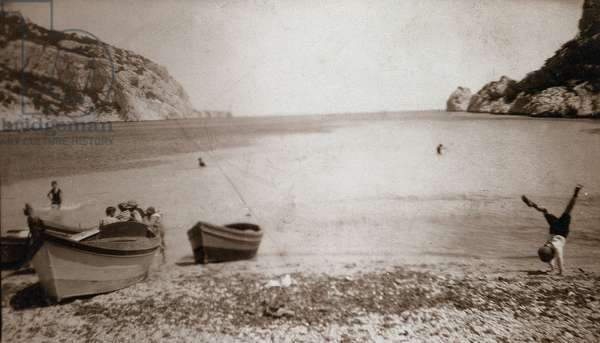 View of a beach in France in the 20th century.