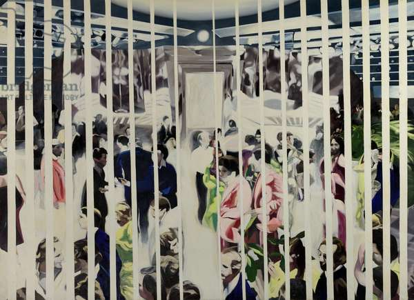 Untitled (crowded room seen through blinds), 1986 (oil on canvas)