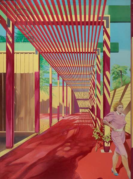 Red Pergola with Woman, 1985 (oil on canvas)