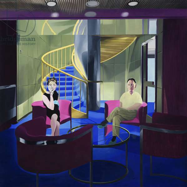 Man and Woman in Room with Spiral Staircase, 1970 (oil on canvas)