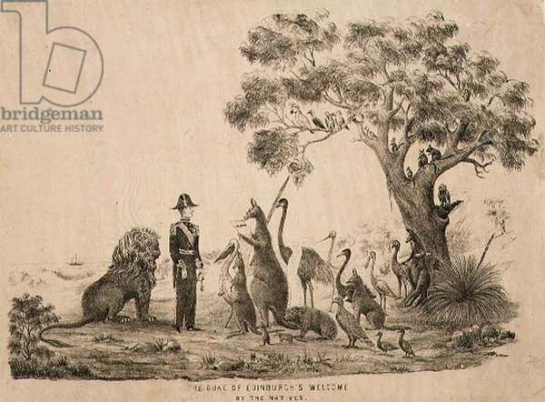 The Duke of Edinburgh's welcome by the natives, 1868 (litho)