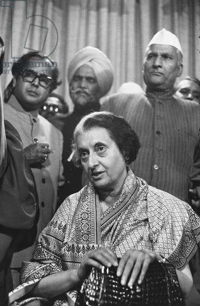 Mrs Gandhi and friends (b/w photo)