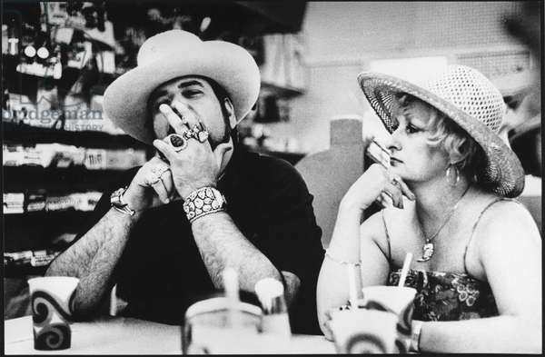Couple at Dave's Store, Santa Fe, New Mexico, 1980s (b/w photo)