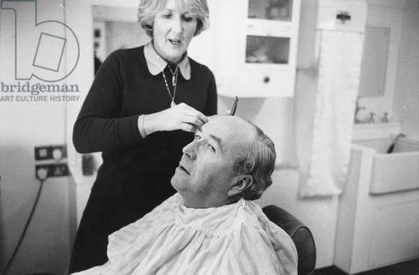 Roy Jenkins in make-up (b/w photo)