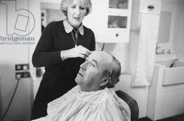 Roy Jenkins in make-up (b/w photo)