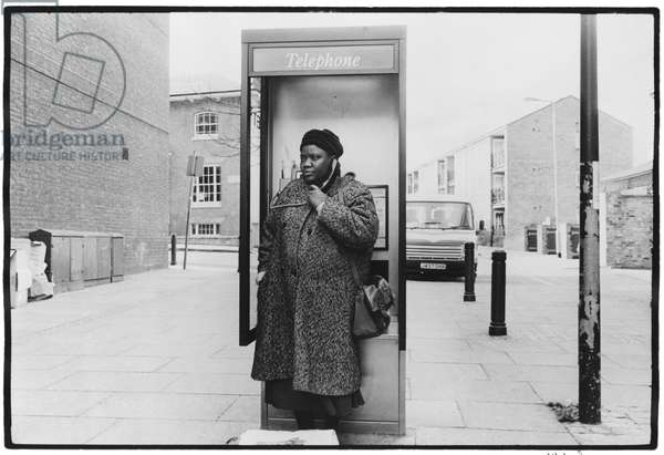 Telephone box, Brixton, London, 1996 (b/w photo)