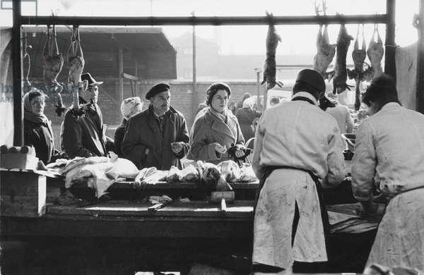 Rabbits at Cross Lane Market, Salford, Lancashire, 1950s (b/w photo)