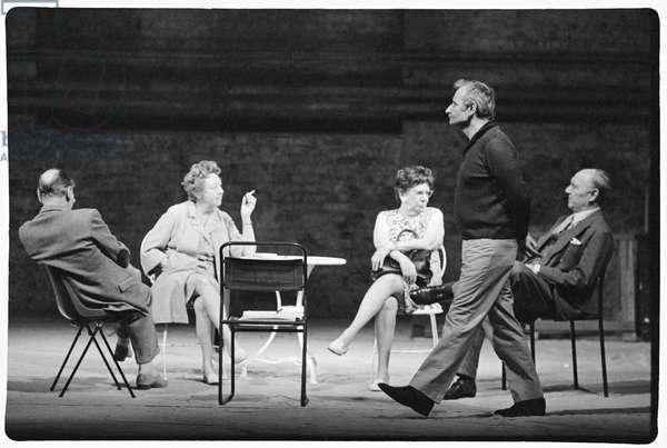 Ralph Richardson, John Gielgud and Lindsay Anderson on set of Home, 1971 (b/w photo)
