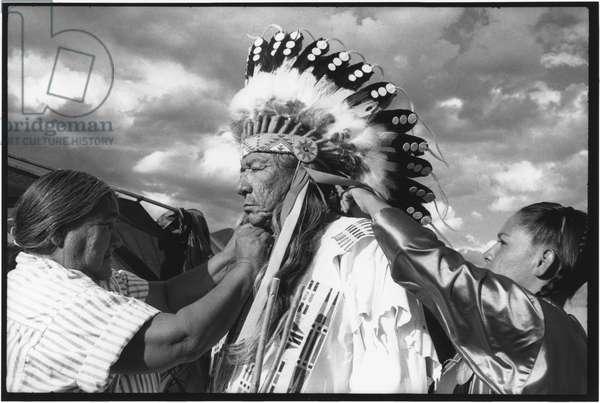 Sioux Indians prepare for Pow Wow, South Dakota, 1990s (b/w photo)