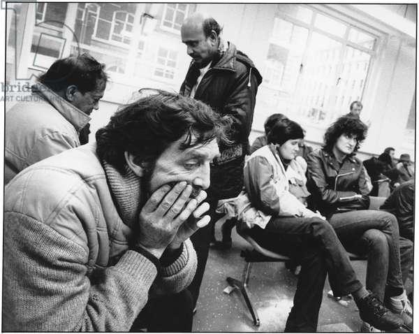 DHSS Benefit Office, Tavistock Place, 1987 (b/w photo)
