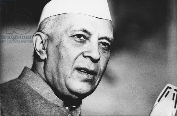 Pandit Nehru, Indian Prime Minister, 1960s (b/w photo)