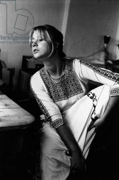 Helen Mirren at home, London, 1969 (b/w photo)