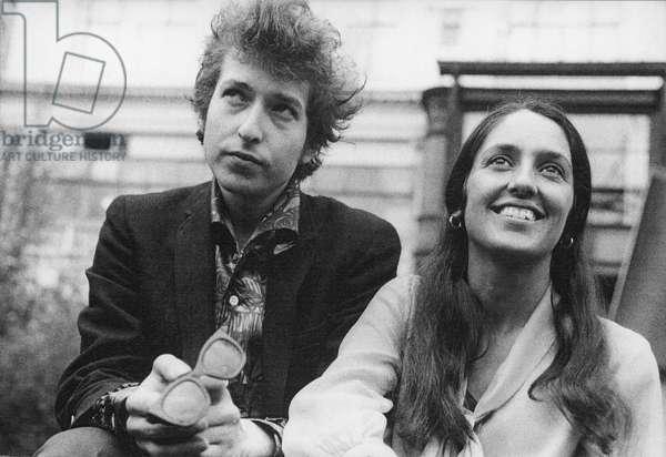 Bob Dylan and Joan Baez, London, 1965 (b/w photo)