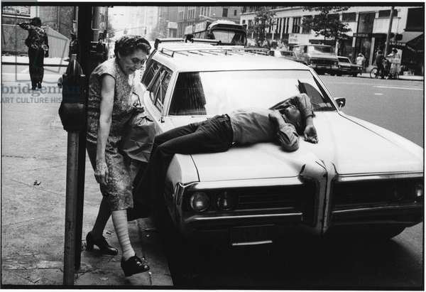 New York City, man on bonnet, 1984 (b/w photo)