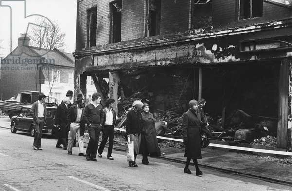 Aftermath of the Brixton Riot, 1981 (b/w photo)