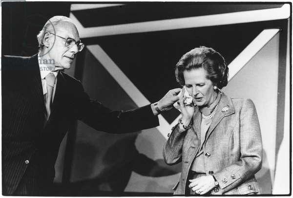 Margaret and Denis Thatcher, Solihull, Birmingham, 1987 (b/w photo)
