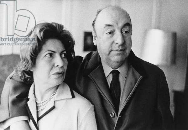 Mr and Mrs Pablo Neruda, 1964 (b/w photo)