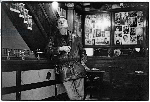 Francis Bacon, The French Pub, Soho, London, 1984 (b/w photo)
