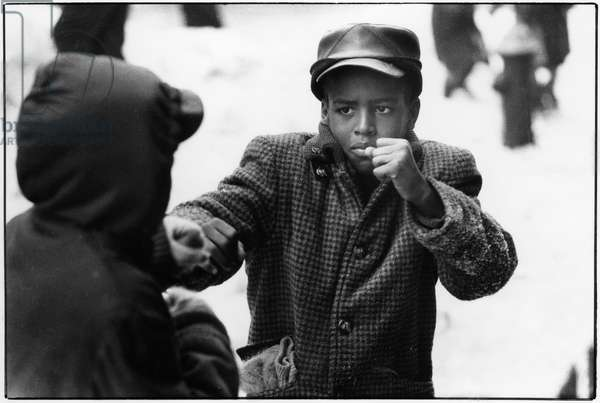 Boys play fighting in Harlem, New York, 1960 (b/w photo)