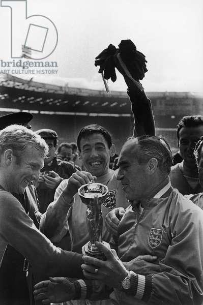 Gordon Banks after winning the FIFA World Cup at Wembley Stadium, London, 1966 (b/w photo)