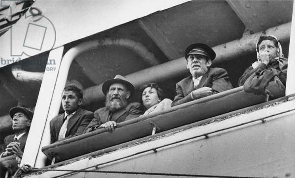 Tristanians arrive in Southampton (b/w photo)