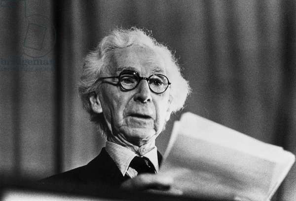 Portrait of British philospher Bertrand Russell, 1961 (b/w photo)