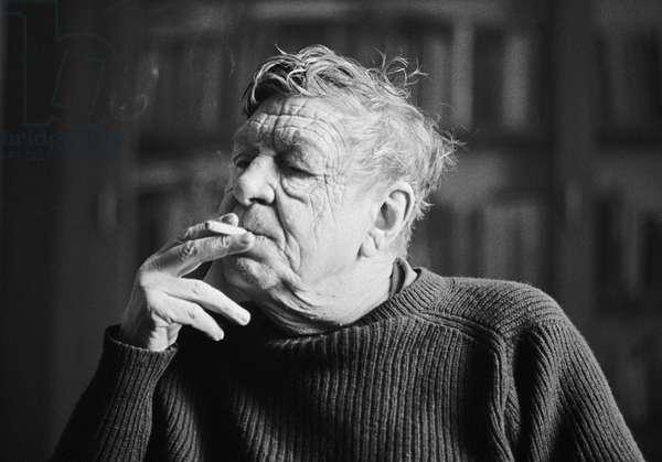 Wystan Hugh Auden (aka W. H. Auden) (1907-1973 ) London,  photographed in Stephen Spender's House in St. Johns Wood, 1972 (b/w photo)