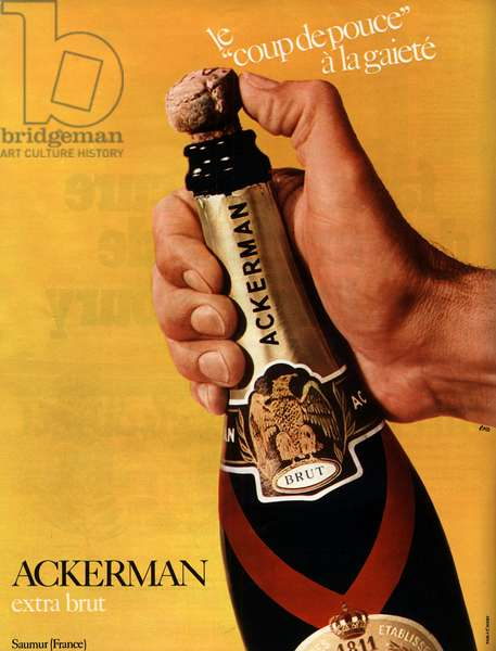 """Advertising for champagne of the brand """"Ackerman"""""""", 1970."""
