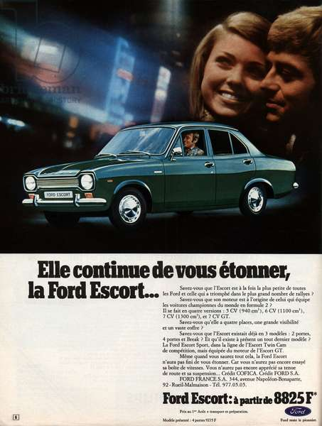 "Advertising for the car ""Ford Escort"""" by the brand ""Ford"""", 1971."