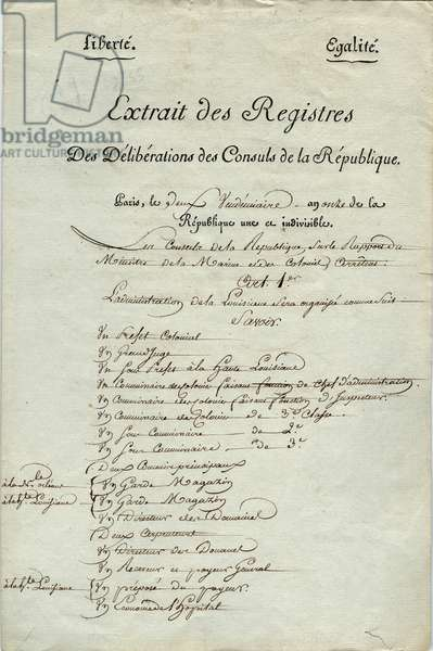 Extract from the register of deliberations of the consuls of the republic, Paris, outlining the administrative organization of Louisiana, 24th September 1802 (pen & ink on paper)