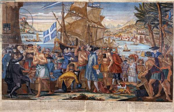 Trade between Mexican Indians and the French at the Port of Mississippi, c.1720 (coloured engraving)