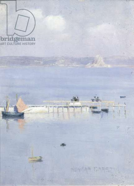 A View of Mount's Bay with the North Pier, c.1892 (panel)