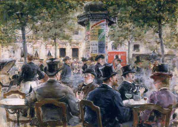 Cafe Scene in Paris, 1884 (oil on panel)