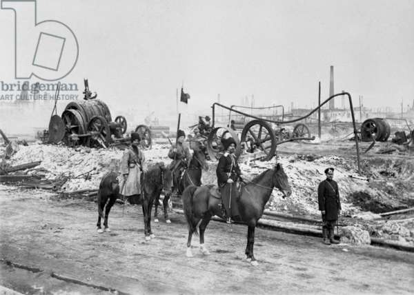A Cossack unit at an oil-field in Baku in 1905, 1905 (b/w photo)